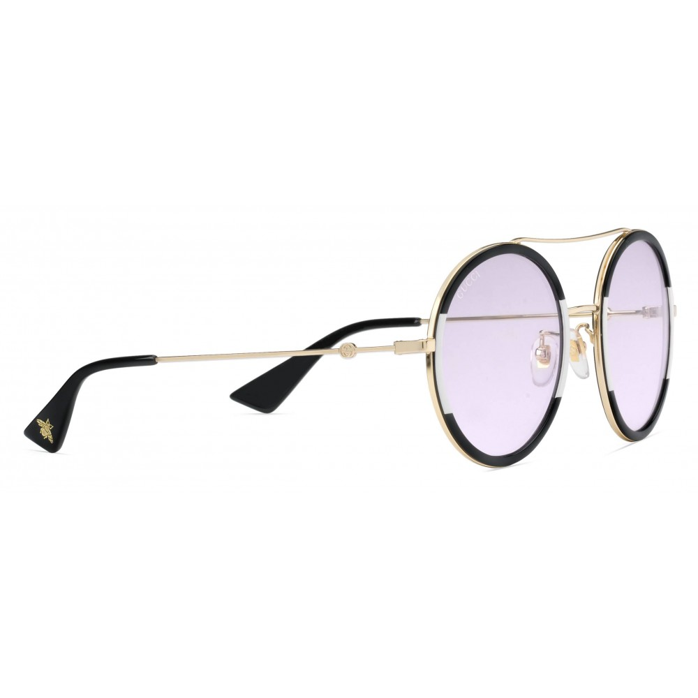 ... Gucci - Round Frame Metal Sunglasses - Black and Ivory - Gucci Eyewear 7ad2d3a4798
