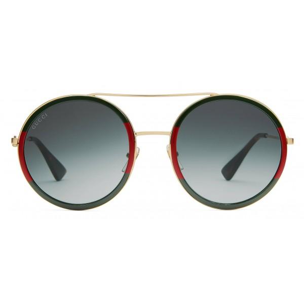 6df32d04b3c Gucci - Round Frame Metal Sunglasses - Green - Gucci Eyewear ...