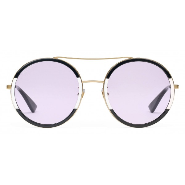 499291e74e9 Gucci - Round Frame Metal Sunglasses - Black and Ivory - Gucci Eyewear