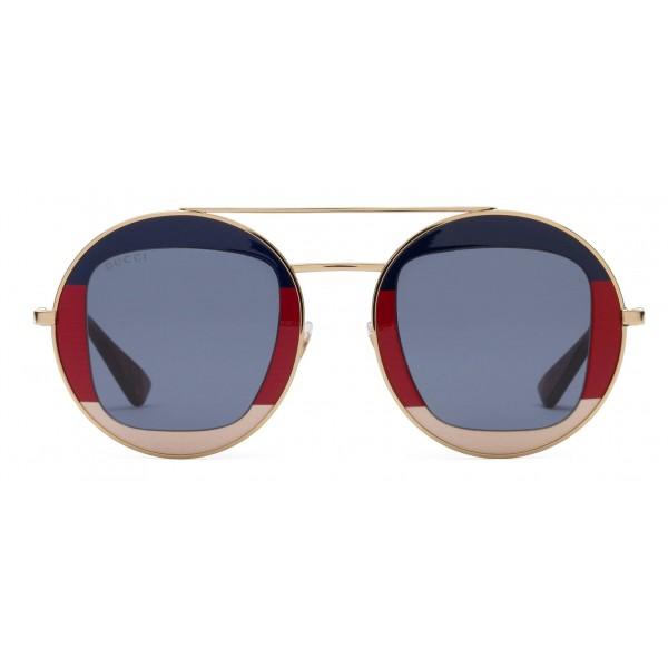 2e1f86272ecce Gucci - Round Frame Metal Sunglasses - Sylvie Web - Gucci Eyewear - Avvenice