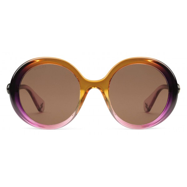 5e24ade9277 Gucci - Round Frame Acetate Sunglasses - Yellow and Pink Shadow Effect - Gucci  Eyewear