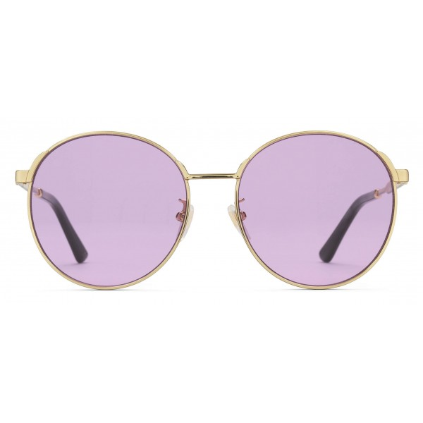 6af79af046f4 Gucci - Round Frame Metal Sunglasses - Gold with Green and Red Web Detail -  Gucci