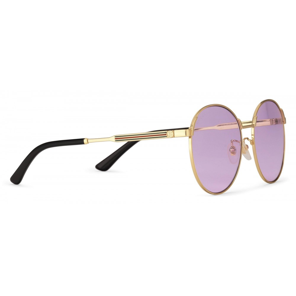 f25403d58b38 ... Gucci - Round Frame Metal Sunglasses - Gold with Green and Red Web  Detail - Gucci ...
