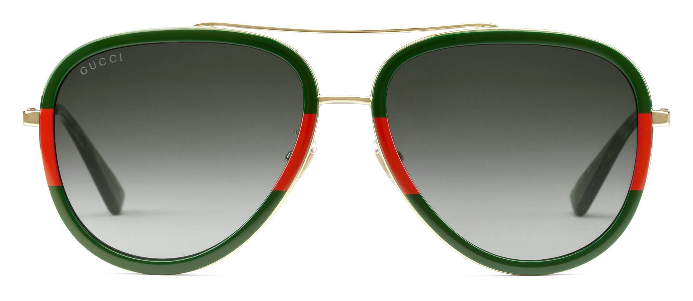 2aa4aa1e95 Gucci - Aviator Acetate Sunglasses - Gold with Green and Red Web Frame - Gucci  Eyewear - Avvenice