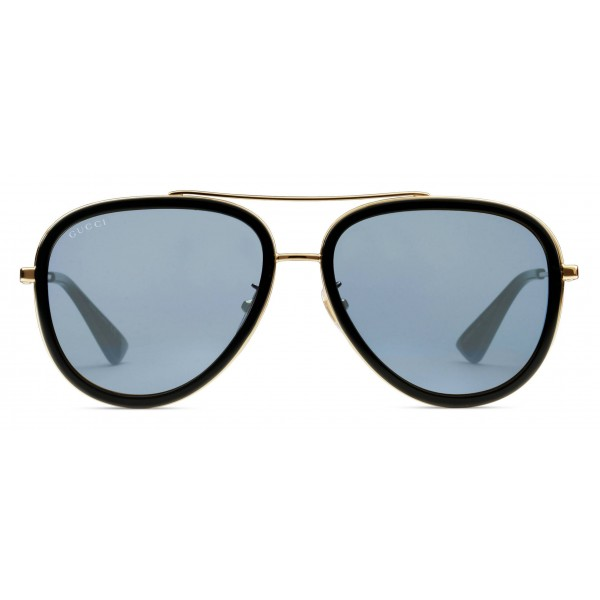 c6b7bc073b5 Gucci - Aviator Acetate Sunglasses - Gold Metal with Black Rim Frame - Gucci  Eyewear - Avvenice