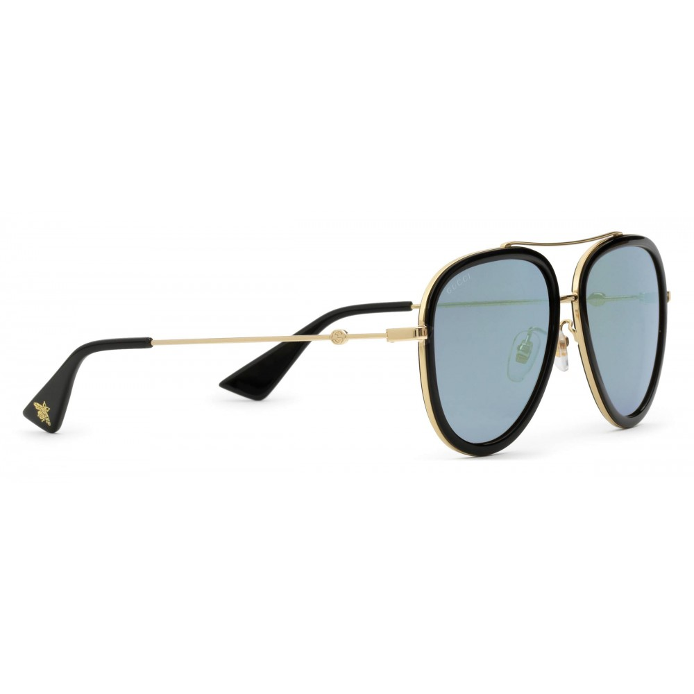 66c266e7f65 ... Gucci - Aviator Acetate Sunglasses - Gold Metal with Black Rim Frame - Gucci  Eyewear