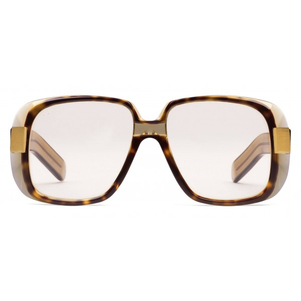 174f7f47447 Gucci - Oversize Round Frame Acetate Glasses - Transparent Olive Acetate -  Gucci Eyewear