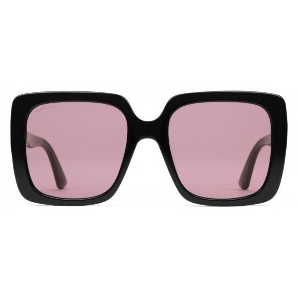 181ae54115 Gucci - Rectangular Acetate Sunglasses - Glossy Black Acetate - Gucci  Eyewear