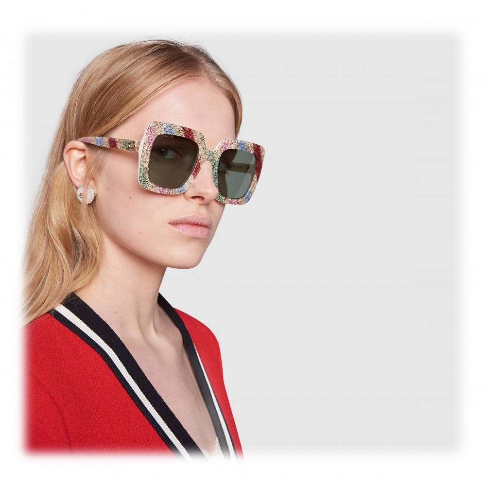 dec879073 ... Gucci - Acetate Glitter Square Sunglasses - White with Multicolored  Glitter - Gucci Eyewear