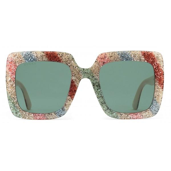 a509557ad Gucci - Acetate Glitter Square Sunglasses - White with Multicolored Glitter  - Gucci Eyewear