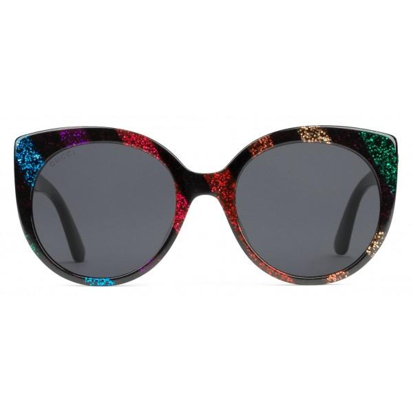 dffd3e9e53 Gucci - Cat Eye Sunglasses in Glitter Acetate - Black Acetate with Rainbow  Glitter - Gucci