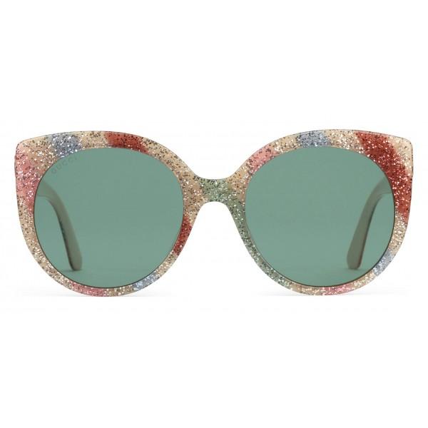 7dafaf4590 Gucci - Cat Eye Sunglasses in Glitter Acetate - Light Ivory Acetate - Gucci  Eyewear