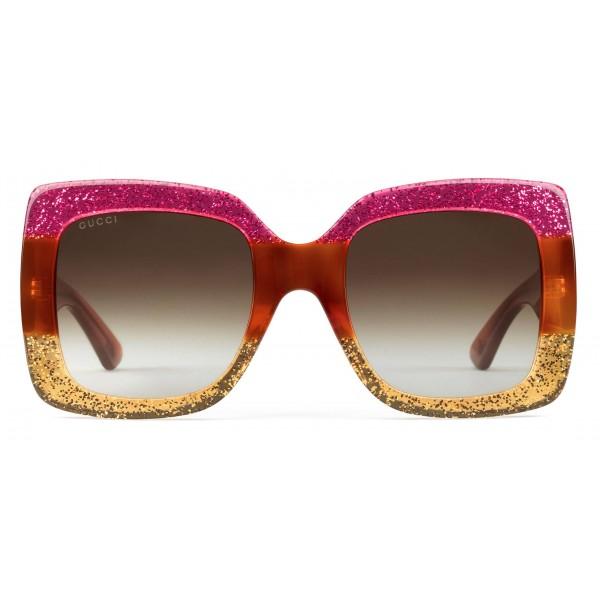 cf5352be1 Gucci - Square Acetate Sunglasses - Pink Glitter Acetate - Gucci Eyewear -  Avvenice