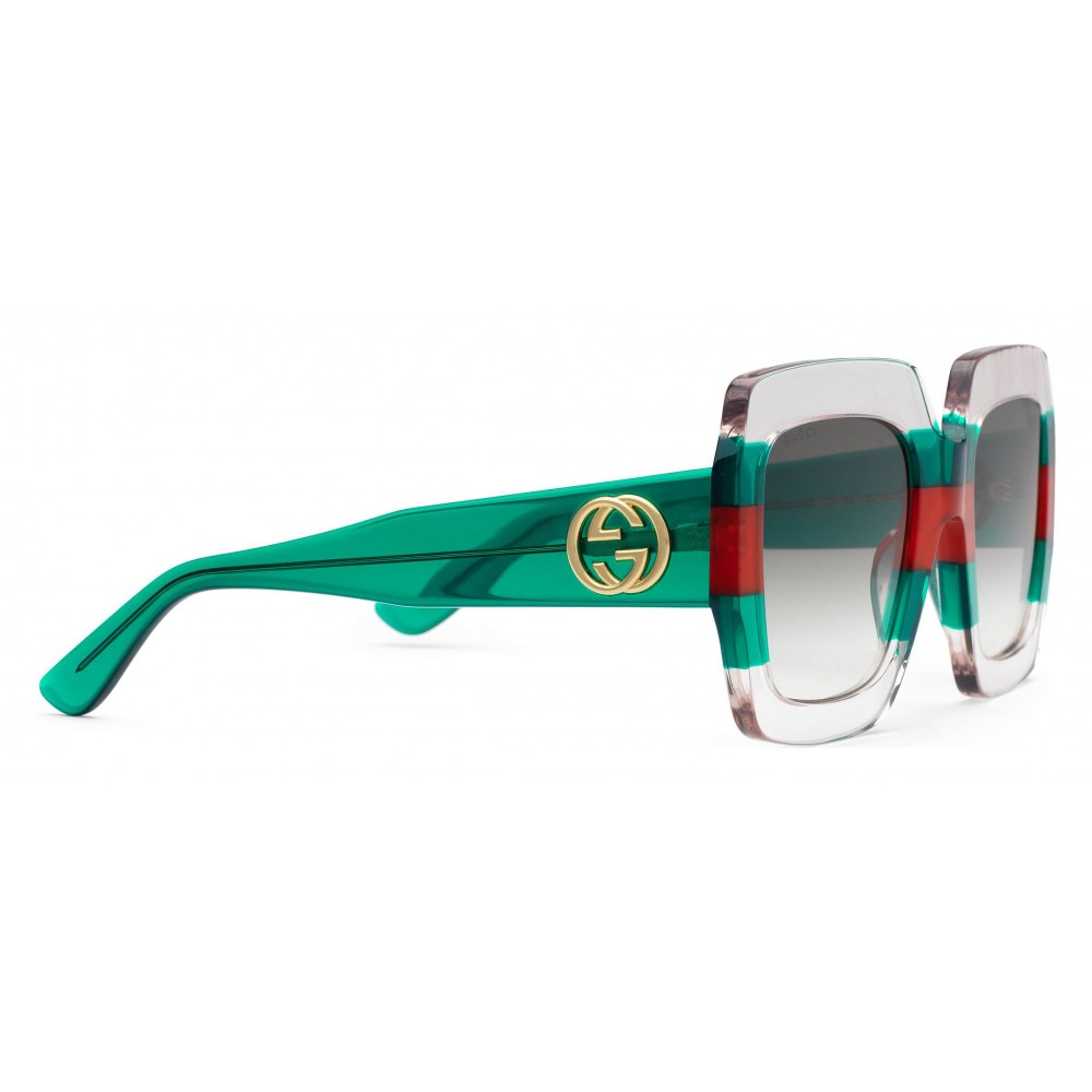 9790b13c324 ... Gucci - Square Acetate Sunglasses - Transparent Acetate with Green and  Red Web Detail - Gucci ...