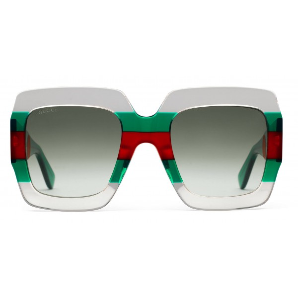 7f83afd338f Gucci - Square Acetate Sunglasses - Transparent Acetate with Green and Red  Web Detail - Gucci