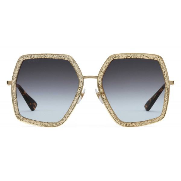 6e4928ca49190 Gucci - Oversized Square Metal Sunglasses - Gold with Gold Acetate and  Glitter - Gucci Eyewear - Avvenice
