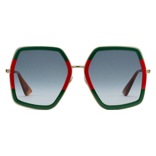 5a905d80b5ee Gucci - Oversized Square Sunglasses in Metal - Gold Coloured with Green and  Red Acetate Glitter - Gucci Eyewear - Avvenice