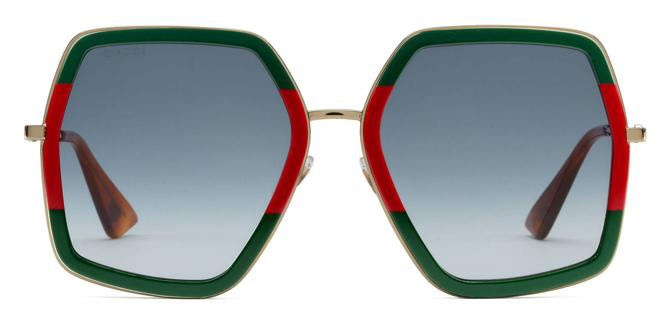 7d1797d6 Gucci - Oversized Square Sunglasses in Metal - Gold Coloured with Green and  Red Acetate Glitter - Gucci Eyewear