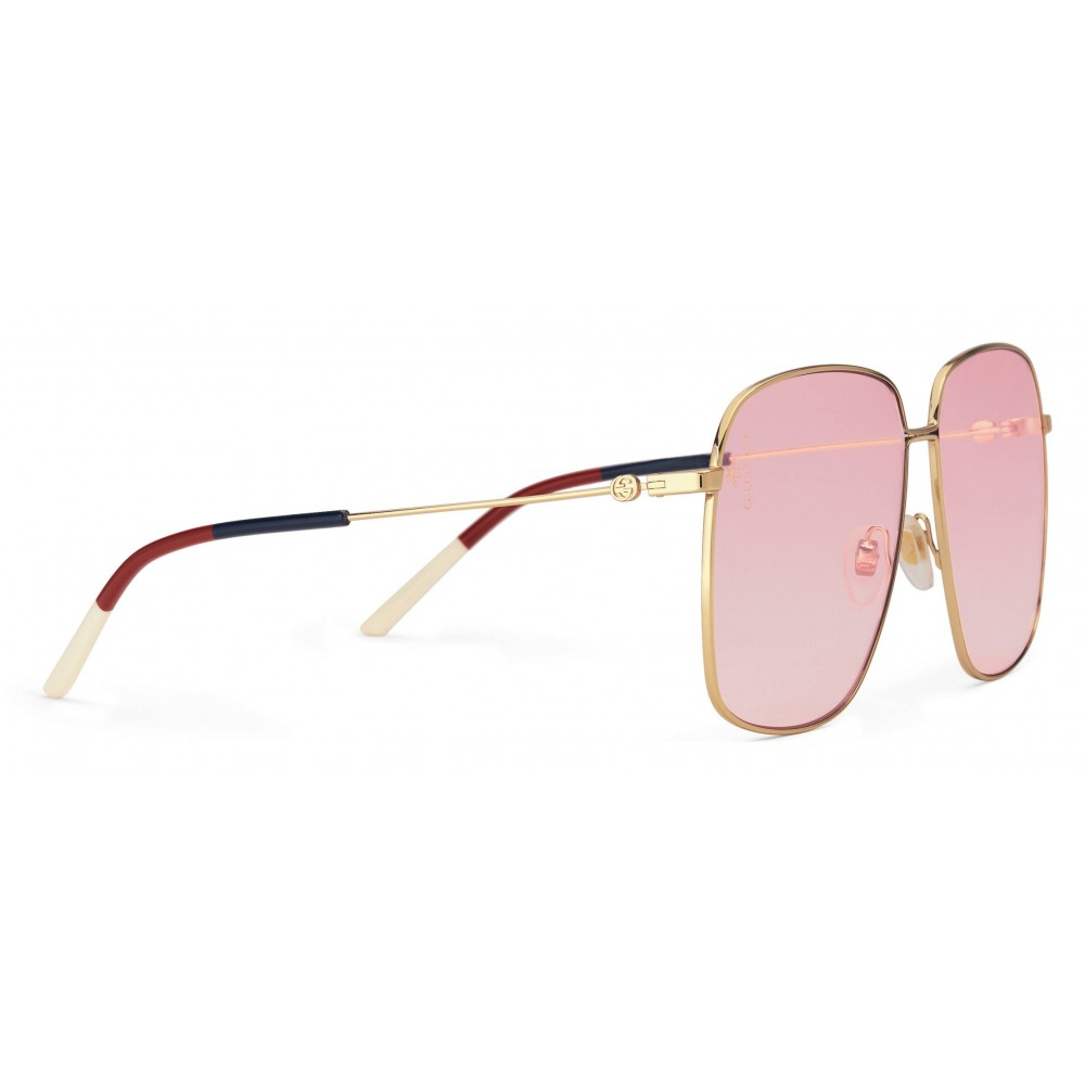 d52813abe7a ... Gucci - Rectangular Metal Sunglasses - Shiny Gold - Gucci Eyewear ...