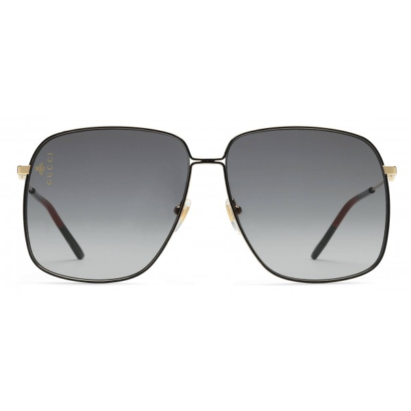 6a62d284750c Gucci - Rectangular Metal Sunglasses - Black with Gold Color Detail - Gucci  Eyewear