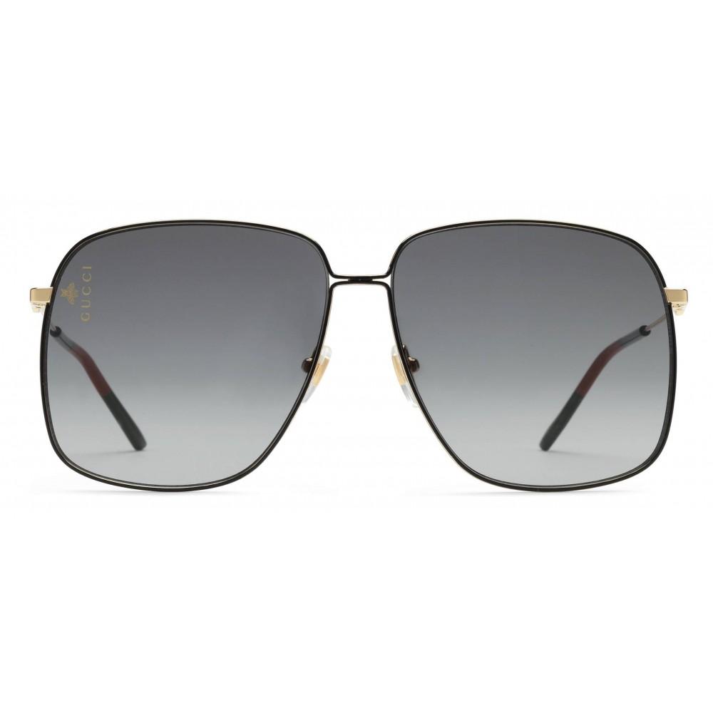 1ca1dc83da2f Gucci - Rectangular Metal Sunglasses - Black with Gold Color Detail - Gucci  Eyewear ...