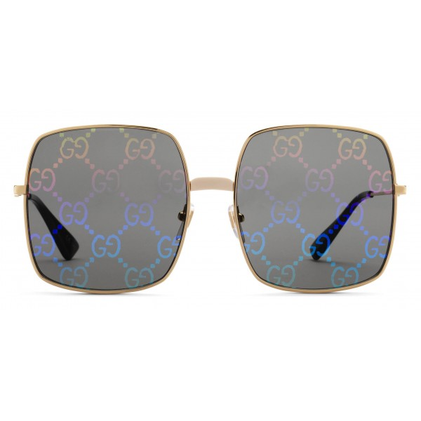 4c9adea41d7 Gucci - Rectangular Metal Sunglasses - Shiny Gold Color with White Bridge  Detail - Gucci Eyewear