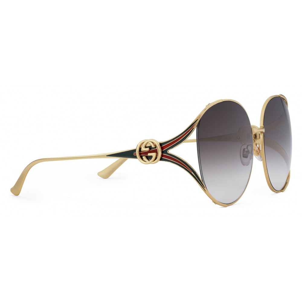858f3f5d87af7 ... Gucci - Round Metal Sunglasses - Gold with Enamel Crotch Detail and Web  Detail - Gucci ...