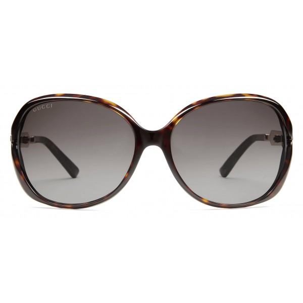 buy popular 8d212 2d311 Gucci - Occhiali da Sole Rotondi Oversize in Metallo e Acetato -  Tartarugato Scuro - Gucci Eyewear