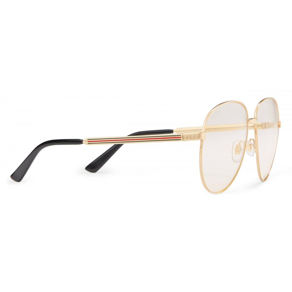 94c2103183 ... Gucci - Occhiali Aviator con Dettaglio Web - Metallo Color Oro - Gucci  Eyewear