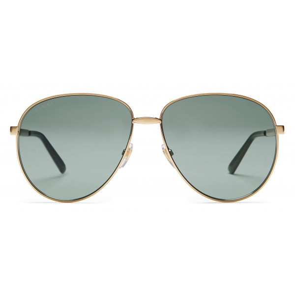 11e993a9bcea Gucci - Aviator Glasses with Web Detail - Metal Color Gold Grey Lenses - Gucci  Eyewear - Avvenice