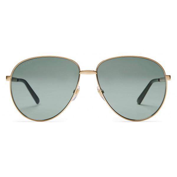 ec67f0232d Gucci - Occhiali Aviator con Dettaglio Web - Metallo Color Oro Lenti Grigie  - Gucci Eyewear