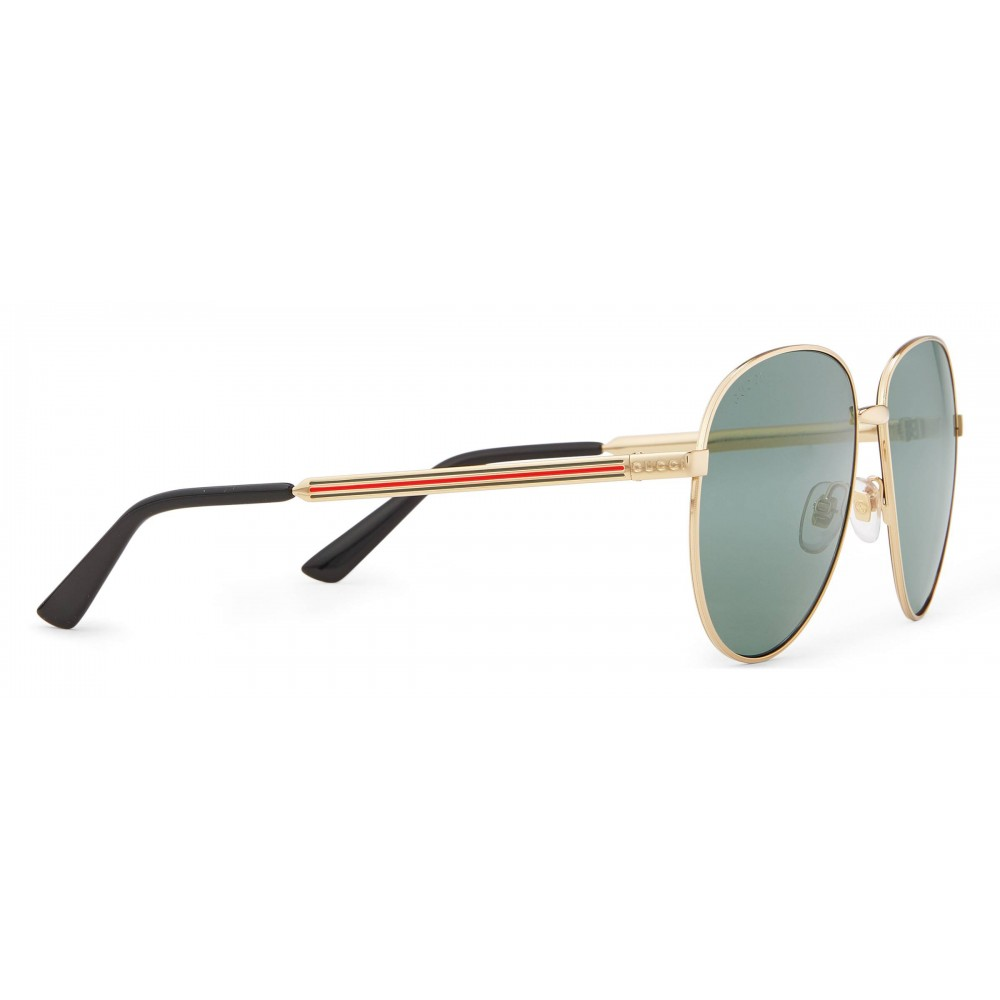 3bcc040796cb ... Gucci - Aviator Glasses with Web Detail - Metal Color Gold Grey Lenses  - Gucci Eyewear