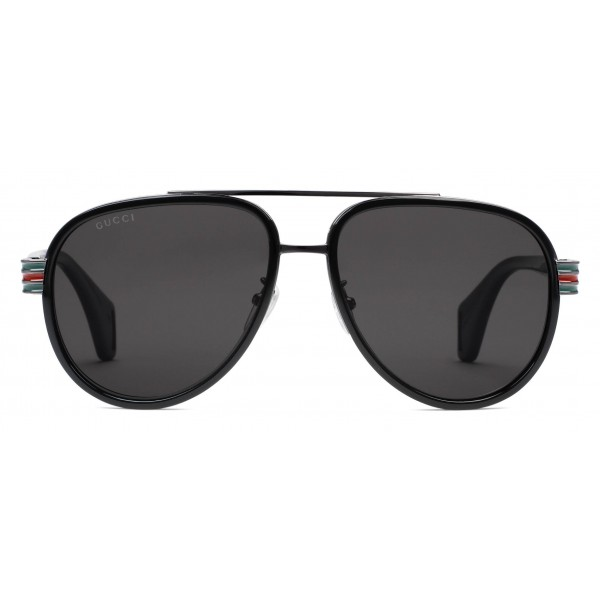 716fcb65d8f Gucci - Aviator Sunglasses - Glossy Black Acetate and Silver Metal - Gucci  Eyewear