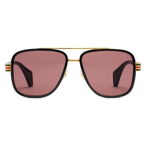 e74c0bff88cf Gucci - Aviator Sunglasses - Acetate Black Glossy Green Red Web - Gucci  Eyewear
