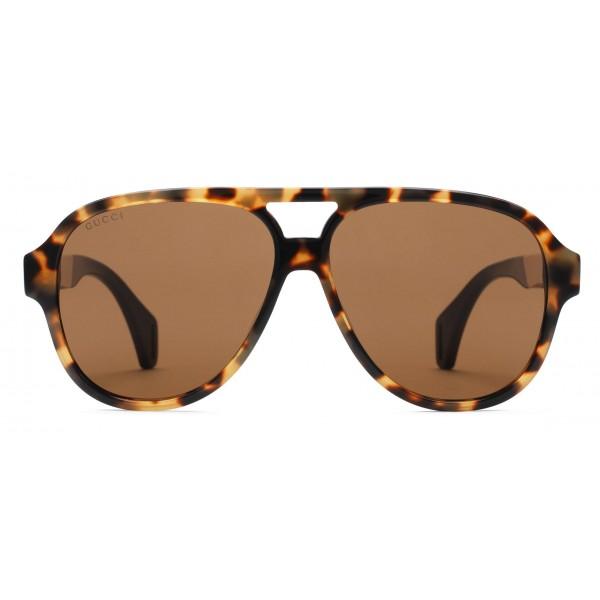 bdbaa39e6751 Gucci - Aviator Sunglasses with Ribbon Gucci - Light Turtle Acetate - Gucci  Eyewear