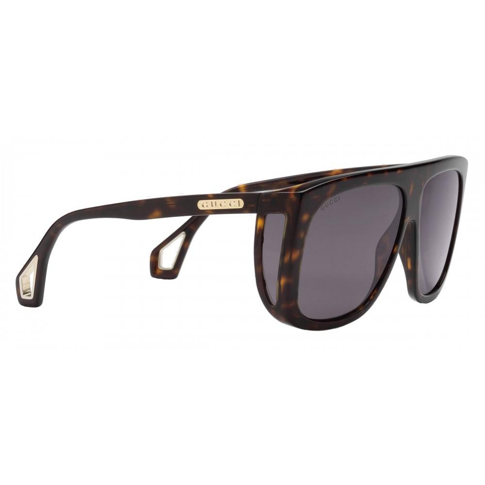 17104daa16 ... Gucci - Occhiali da Sole Quadrati con Protezioni Laterali - Ambra  Tartarugato Lucido - Gucci Eyewear