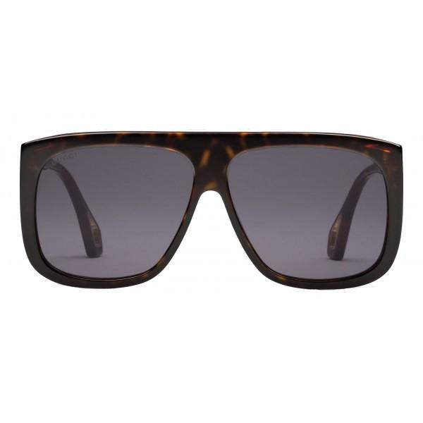 best service 13fe9 a2fab Gucci - Occhiali da Sole Quadrati con Protezioni Laterali - Ambra  Tartarugato Lucido - Gucci Eyewear - Avvenice