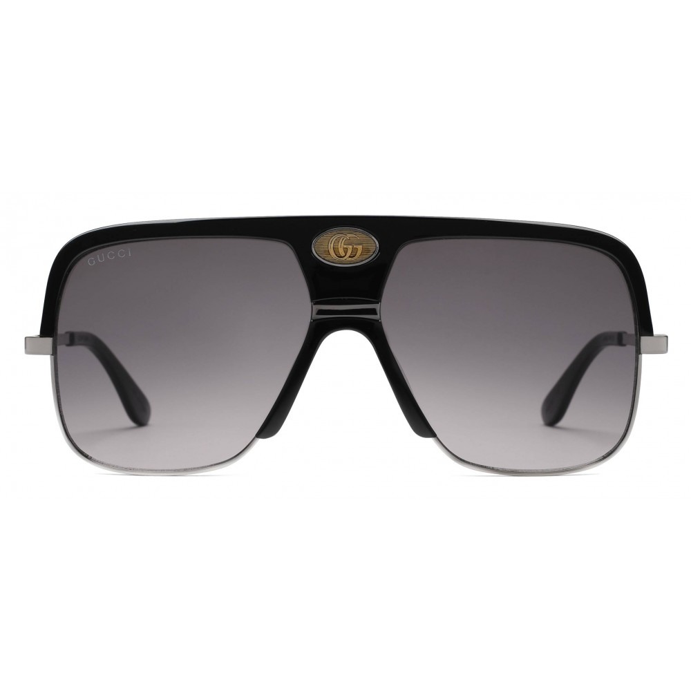 023f66a791 Gucci navigator sunglasses with double black acetate and ruthenium metal gucci  eyewear jpg 1000x1000 Gucci eyeglass
