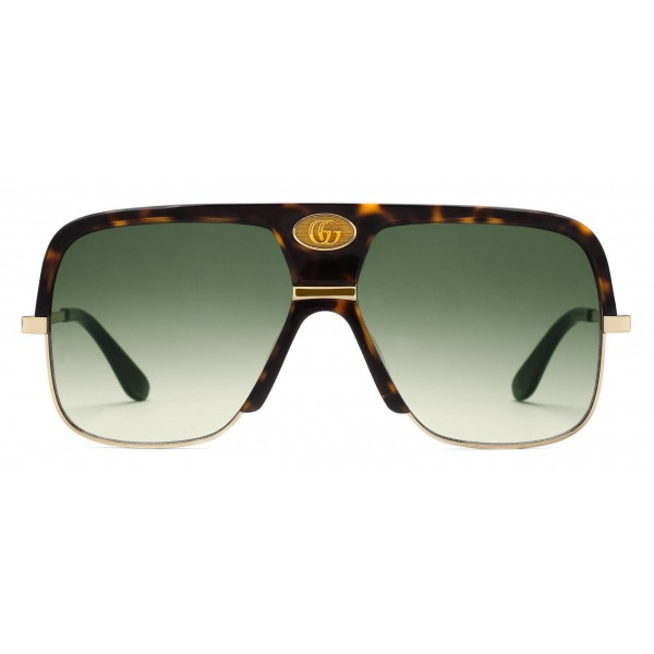 c12b1a5e22 Gucci - Navigator Sunglasses with Double G - Dark Turtle Acetate and Gold  Metal - Gucci