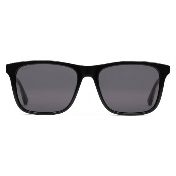 9e64ecc60 Gucci - Rectangular Metal Sunglasses - Polished Black Acetate - Gucci  Eyewear