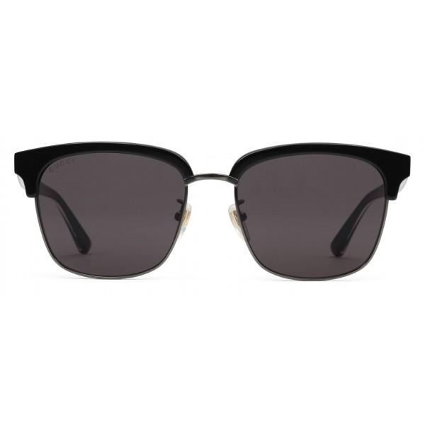 f4eb30637199 Gucci - Rectangular Metal Sunglasses - Glossy Black and Black Acetate Frame  - Gucci Eyewear