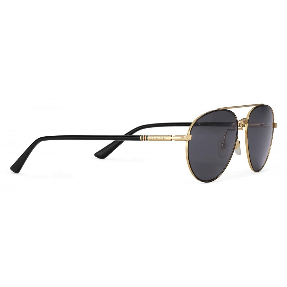 03b908983187 ... Gucci - Metal Aviator Sunglasses - Shiny Gold with Black Border - Gucci  Eyewear ...