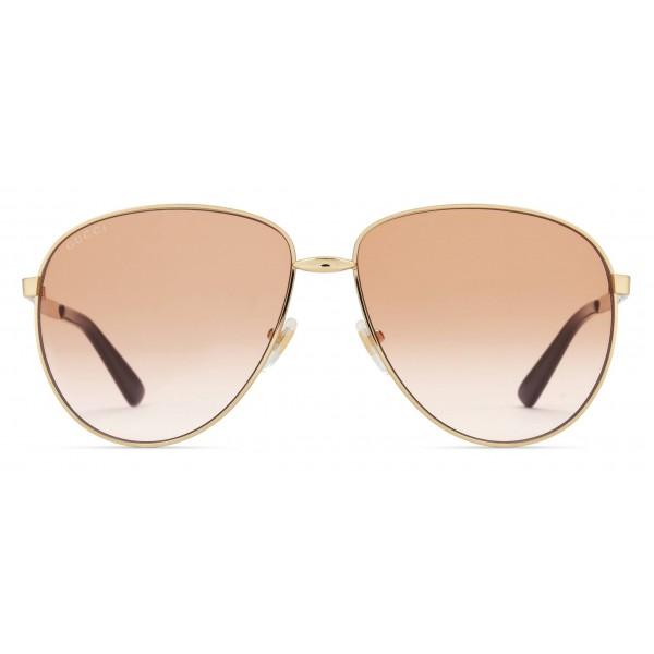 f8fc2cd669ff Gucci - Aviator Sunglasses in Metal - Gold Coloured Brown Lenses - Gucci  Eyewear