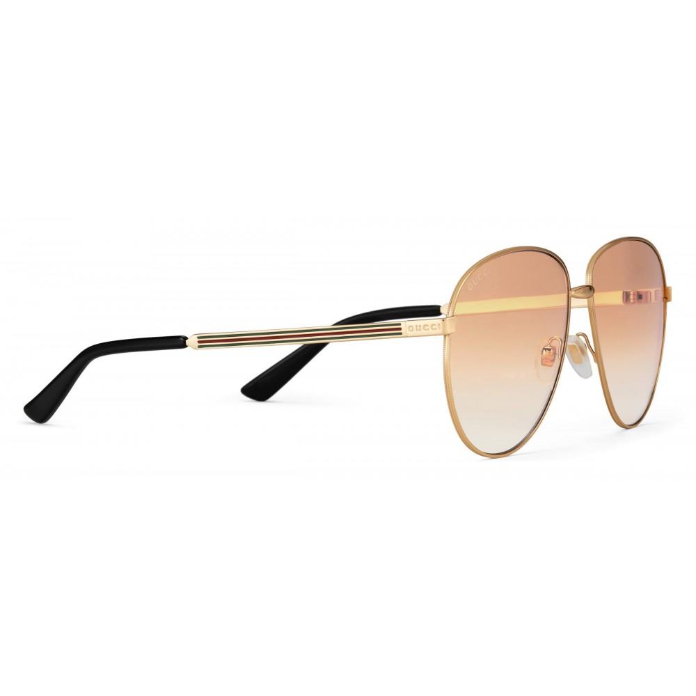 895e00e384fc ... Gucci - Aviator Sunglasses in Metal - Gold Coloured Brown Lenses - Gucci  Eyewear ...