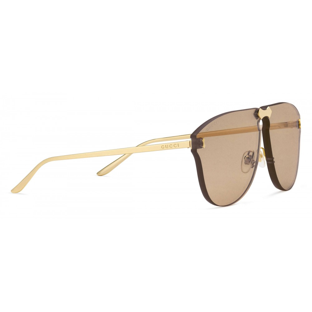51cc9b0dec2 ... Gucci - Aviator Sunglasses Without Frame - Gold Lenses Light Brown - Gucci  Eyewear ...