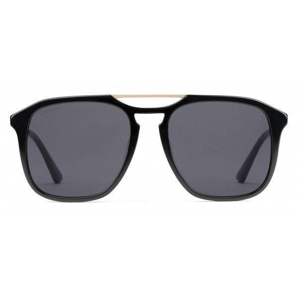 3d1706a3ac ... Gucci Acetate Square Sunglasses Black with Gold Color Detail