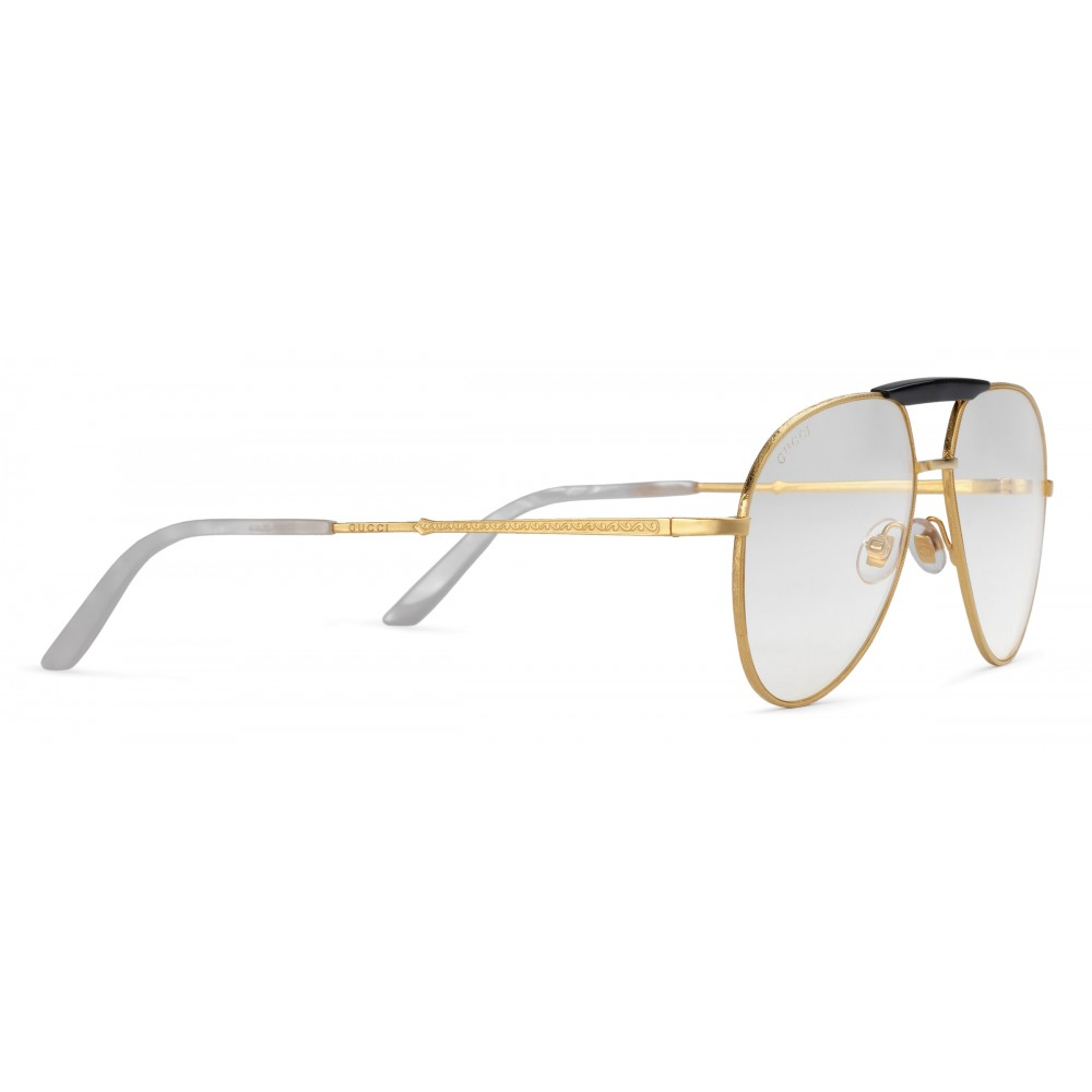 c38af98806a ... Gucci - Aviator Metal Glasses - Gold coloured with Black Acetate Bridge  - Gucci Eyewear ...