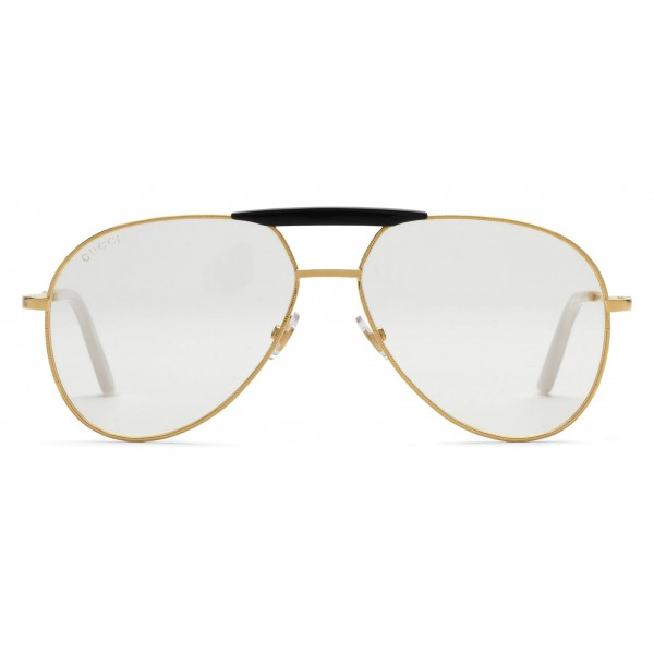 569a13a5ca1 Gucci - Aviator Metal Glasses - Gold coloured with Black Acetate Bridge - Gucci  Eyewear