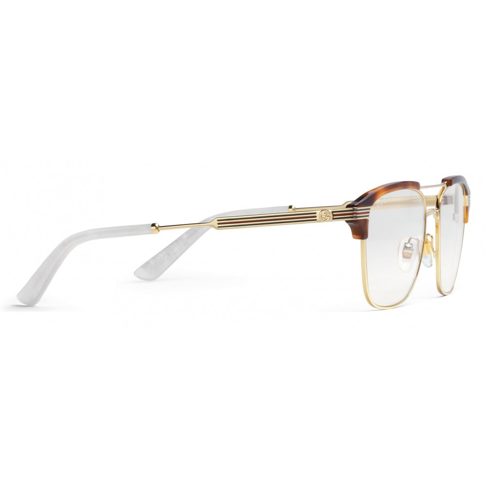 35ecdd96311 ... Gucci - Square Metal Glasses - Gold with Turtle Acetate Detail - Gucci  Eyewear ...
