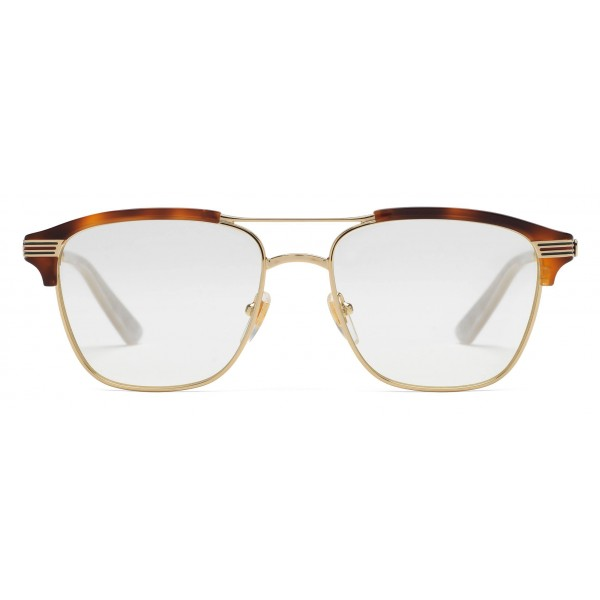e9e0b0b4d14 Gucci - Square Metal Glasses - Gold with Turtle Acetate Detail - Gucci  Eyewear
